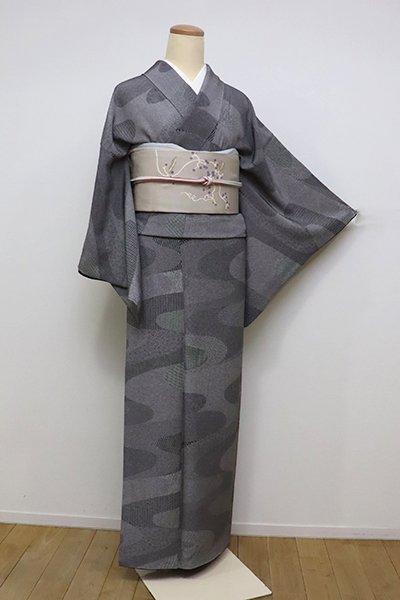 銀座【C-1750】江戸小紋 黒色 流水に小紋柄寄せ(反端付)