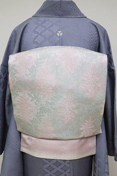 あおき【K-6346】織名古屋帯 白色×撫子色 鳳凰桐唐草に桜の図