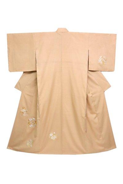 銀座【着物2592】紬地 刺繍付下げ 白茶色 花の丸文