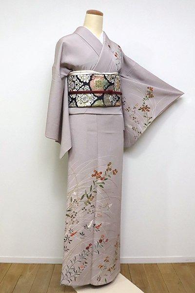 銀座【B-2330】(広め)単衣 訪問着 源氏鼠色 秋草の図(反端付)