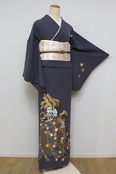 銀座【B-2332】(広め)染一ッ紋 訪問着 濃墨色 几帳に楓と藤花の図