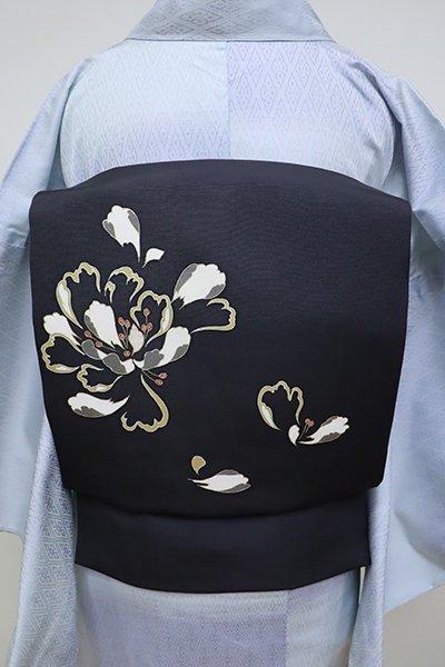 銀座【K-6347】塩瀬地 染名古屋帯 藍鉄色 花の図