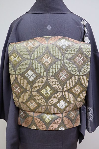 銀座【L-4696】袋帯 墨色 七宝繋ぎ