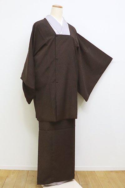 銀座【E-1093】二部式 道行コート 焦茶色×墨黒色 流線
