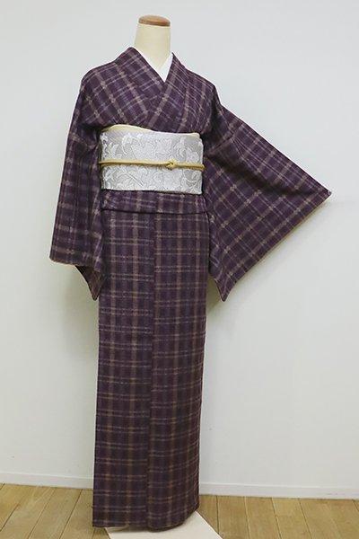 銀座【A-2942】(S)紬 花織 葡萄鼠色 格子