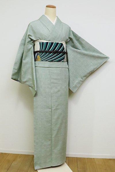 銀座【A-2943】奥順製 結城紬 青磁鼠色 網代文(証紙付)