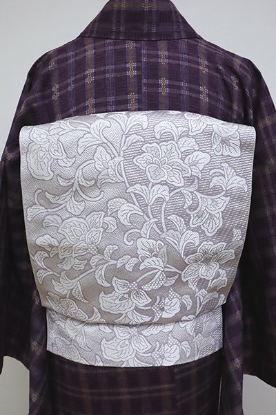 銀座【K-6354】織八寸名古屋帯 白梅鼠色 唐花文