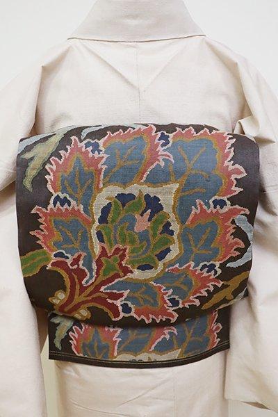 銀座【L-4698】紬地  洒落袋帯 墨色 唐花文