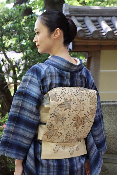 銀座【帯3150】野蚕地 インド刺繍 袋帯
