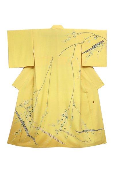 銀座【着物2598】訪問着 卵色 萩の図 (落款入・京都ゑり善扱い・畳紙付)