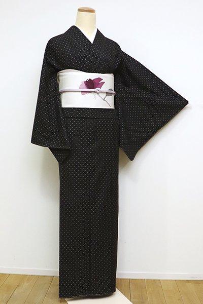 銀座【A-2947】本場大島紬 泥染 黒色 幾何文(証紙付)