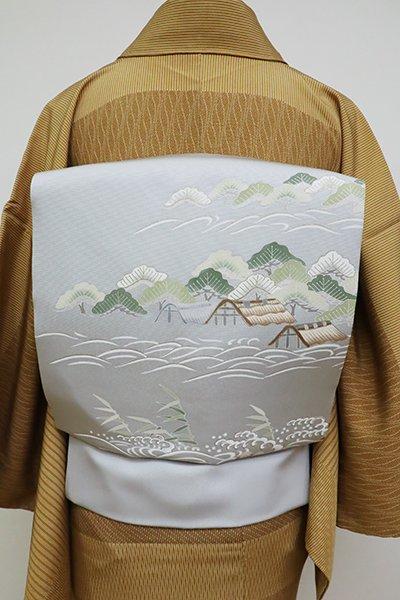 銀座【K-6362】塩瀬 染名古屋帯 白花色 海賦文
