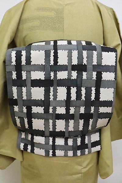 銀座【L-4703】紬地 江戸紅型 洒落袋帯 白色 組み格子文(青山みとも扱い・畳紙付)