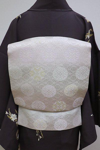 銀座【K-6368】織名古屋帯 白色×桜色 横段に有職丸文
