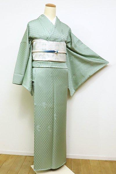 銀座【C-1728】染一ッ紋 色無地 錆青磁色 菊花の地紋