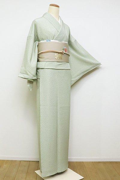 銀座【C-1734】江戸小紋 裏葉柳色 梅鉢(反端付)(N)