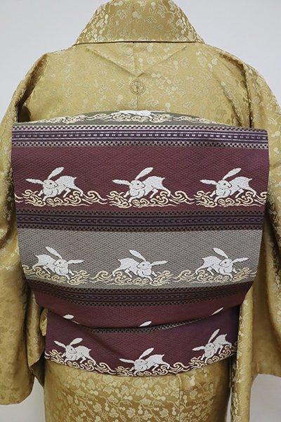 銀座【K-6373】織名古屋帯 滅紫色 波兎の横段