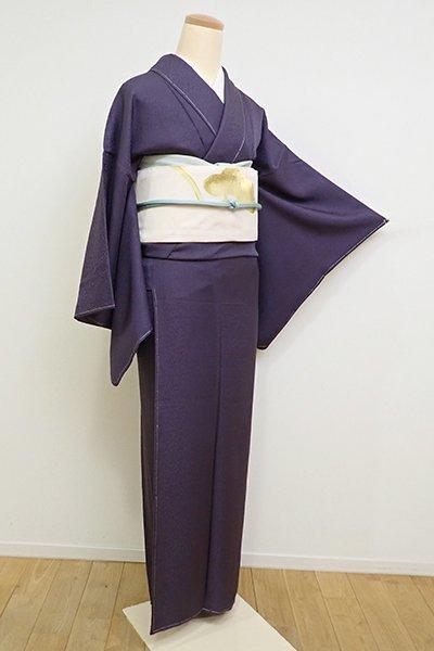 銀座【C-1736】(S)岡重製 繍一ッ紋 色無地 深紫色 植物の地紋(落款入)