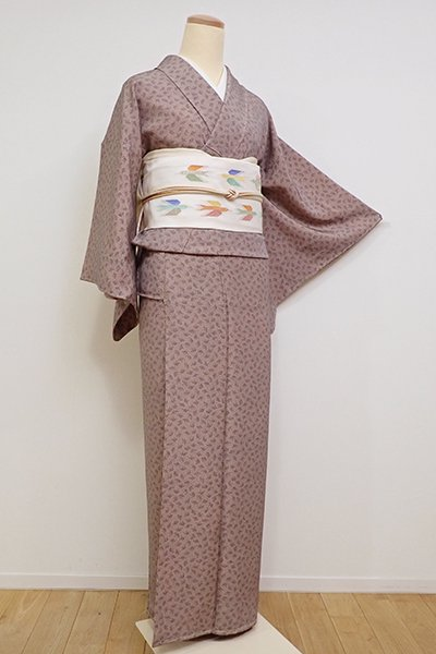 銀座【C-1737】(S)繍一ッ紋 江戸小紋 赤白橡色×墨色 銀杏文