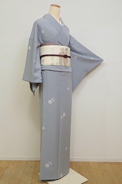 銀座【D-2359】小紋 錫色 桜と兎の丸文