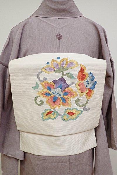 銀座【K-6376】織八寸名古屋帯 薄卵色 唐花の丸文