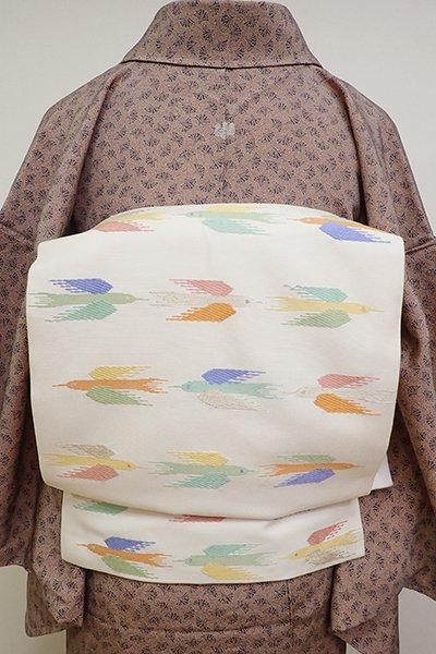 銀座【K-6378】織名古屋帯 白色 鳥の図