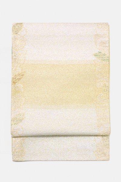 銀座【帯3153】西陣 桝屋高尾製 ねん金綴錦 袋帯「木の葉献上文」(落款入)