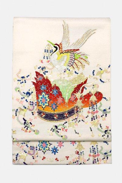 銀座【帯3157】龍村平蔵製 本袋帯 銘「千代能冠錦」(高島屋畳紙付)
