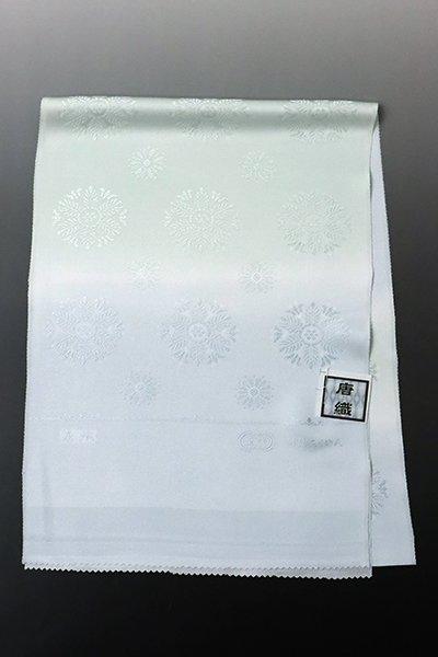 銀座【G-1373】京都衿秀 帯揚げ 月白色×青磁鼠色 暈かしに装飾丸文(新品)