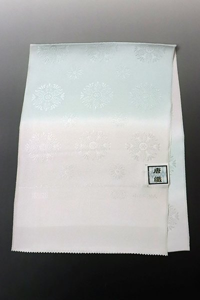 銀座【G-1375】京都衿秀 帯揚げ 桜色×白藍色 暈かしに装飾丸文(新品)