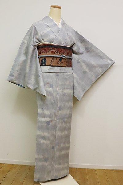 銀座【A-2953】(S)結城紬 白花色 水玉文(梅田大丸扱い)
