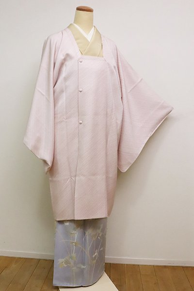 銀座【E-1098】道行コート 薄桜色×白色 斜め縞