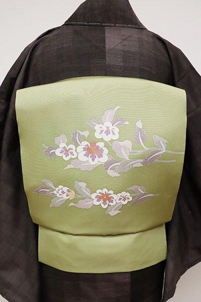 あおき【K-6387】塩瀬 染名古屋帯 柳茶色 花の図