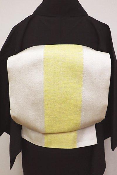 あおき【L-4720】洒落袋帯 生成り色 太縞