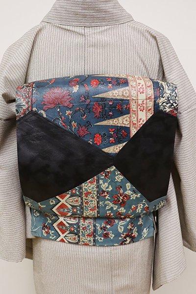 銀座【L-4721】本革 リバーシブル 洒落袋帯 切り嵌めに更紗文