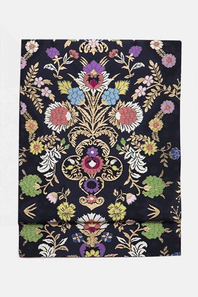 銀座【帯3159】西陣 帯屋捨松製 袋帯「リヨン草花紋」(反端証紙付)