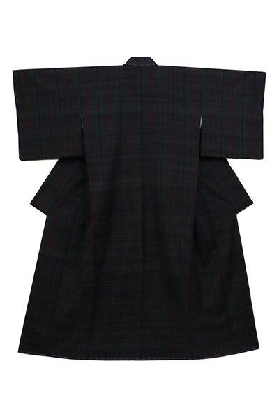 銀座【着物2613】郡上紬 黒色×虫襖色×蘇芳色 格子 (反端証紙付)