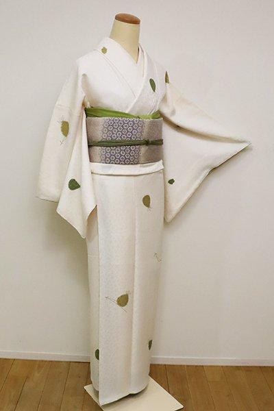 銀座【D-2361】絞り染め 小紋 白色 松葉に松ぼっくりの図