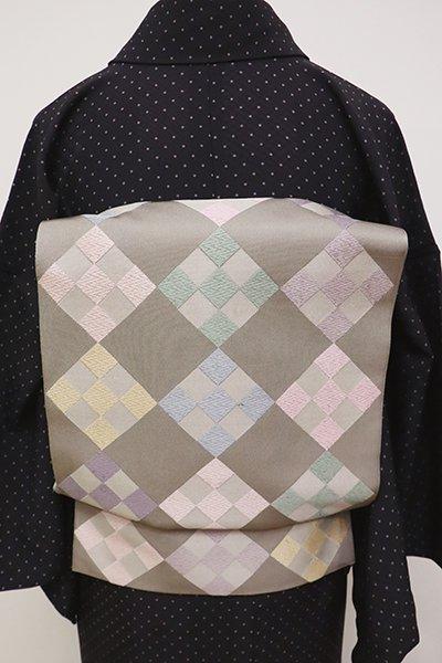 銀座【L-4722】洒落袋帯 茶鼠色 多彩な菱文