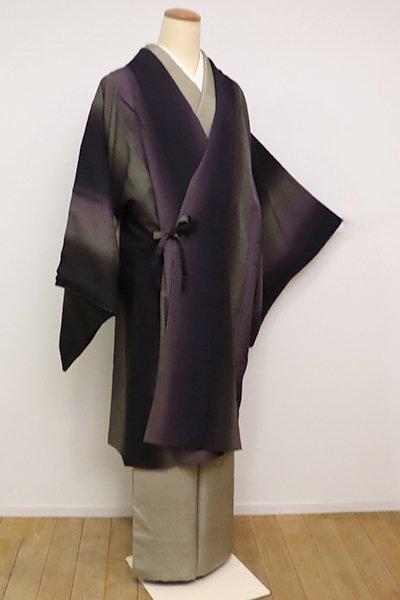 銀座【E-1099】道中着 似せ紫色×岩井茶色 竪暈かし