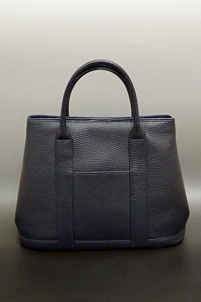 銀座【G-1390】京都衿秀 牛革 ハンドバッグ 藍鉄色 無地