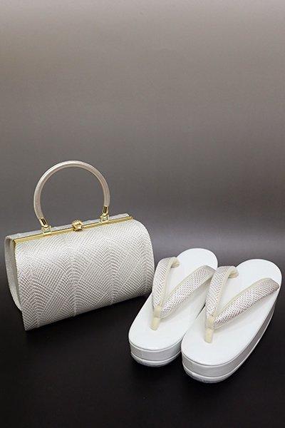 銀座【G-1398】京都衿秀 フォーマル草履・バッグセット 白色×銀色