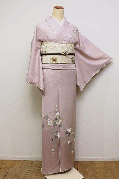 銀座【B-2345】(S・細め)付下げ 灰桜色 裾濃暈かしに葡萄の図
