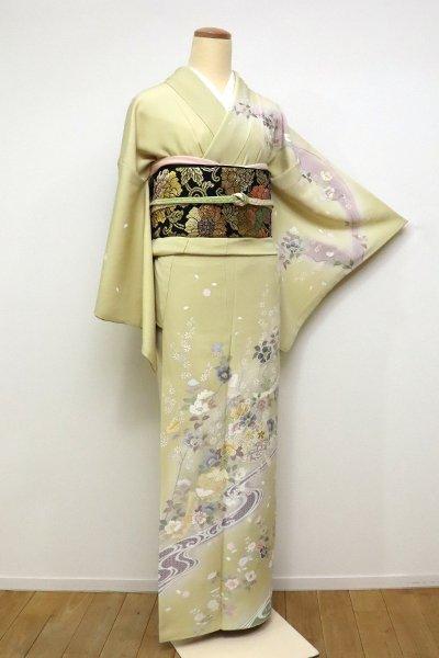 銀座【B-2347】(S)蘇州刺繍 訪問着 砥粉色 椿に菊・桜の図