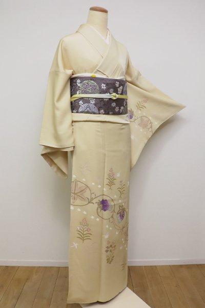 銀座【B-2349】付下げ 浅黄色 苺と葡萄の図 (落款入)
