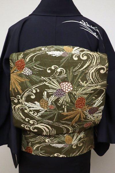 銀座【L-4732】手織 袋帯 海松色 松毬の図 (落款入)