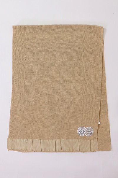 【R-91】正絹 縮緬無地帯揚げ 白茶色