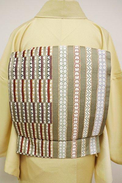銀座【L-4738】洒落袋帯 鶸茶色 幾何文