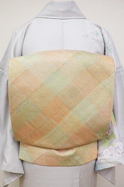銀座【L-4739】組織り 袋帯 洒落柿色 斜め格子