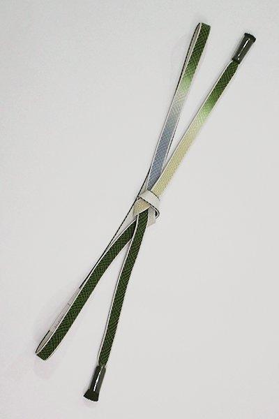 【G-1400】京都 衿秀製 帯締め 平組 三色暈かし 濃松葉色×舛花色×砂色(新品)